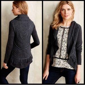 Anthropologie Regan Stitch Fringe Boho Sweater